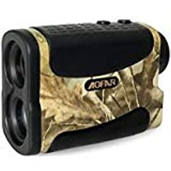 AOFAR Telémetro de Golf Caza-1000m Impermeable, 6X 25mm Ocular Telescopio telémetro láser Medición de Distancia de Velocidad Función de escanea y en Niebla Batería a Gratis