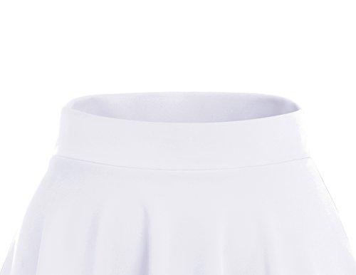 Dresstells Damen Basic Solide vielseitige Dehnbar Informell Mini Glocken White-Midi