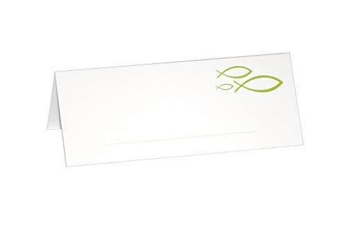 Platz-Karten Tisch-Karten Peaceful Fisch Fisch-Motiven Apfel-Grün Konfirmation Kommunion Taufe Firmung Tisch-Deko-ration Kärtchen Tisch-Karten für Mädchen & Junge-n hell-grün mit Fischen (36 Stück)