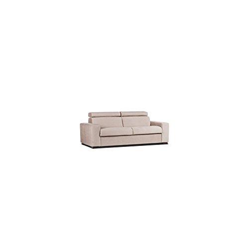 Webmarketpoint divano letto 3 posti in tessuto sfoderabile colore nocciola 205x95xh.80 cm