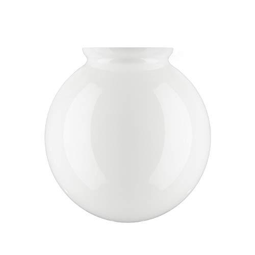 15.0cm Diámetro Pantalla de Lámpara esférica de Vidrio Blanco con achaflanar cuello. Ancho exterior del cuello: 7.7cm Diámetro. Agujero: 6.5cm Diámetro, Altura: 15.5cm, Circunferencia: 47cm.