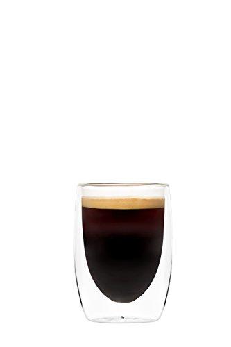 YEM 6x 320ML Vasos Térmicos (, para Latte Macchiato, Cócteles, postres, Juego de Cristal de Té, Vasos de Doble Pared, Basic