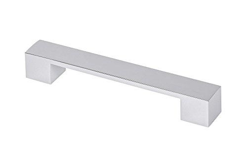 Gedotec Moderner Möbelgriff 128 mm Stangengriff eckig - GR10010   Schubladen-Griff für Küche, Bad-Möbel, Schränke uvm.   Höhe 25 mm   Küchengriff Metall Chrom poliert   1 Stück - Design Schrankgriff