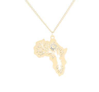 CrownOfRibbons Halskette, in Gold Afrika Karte Anhänger für Herren/Damen, afrikanischer Schmuck Baum des Lebens-Anhänger, geätzt, für Positivity Geschenk verpackt (Gold Afrika-karte Anhänger)