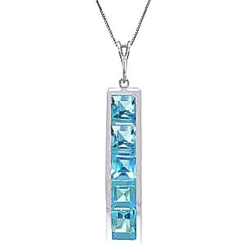 QP Jewellers, con topazio blu naturale, collana con ciondolo, in oro bianco 9 k, 2,25 ct, taglio quadrato,
