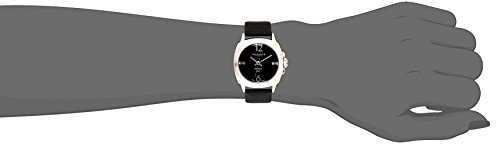 Akribos XXIV Women's AK742SSB Swiss Quartz Movement Watch with Black Sunburst Effect Dial and Black Satin over Nubuck Leather Strap