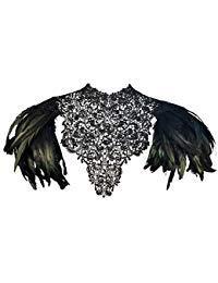 rz Federn Wedding Lace Cape Shawl Kragen Umhang Wing Pad (Black-SL) ()