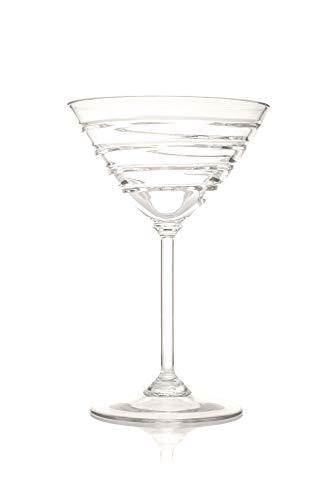 Crystal-martini-cocktail (Martini Cocktail Crystal Glasses, Set of 6. 180 ml. Hand Made, Hand Cut, Gift Box)