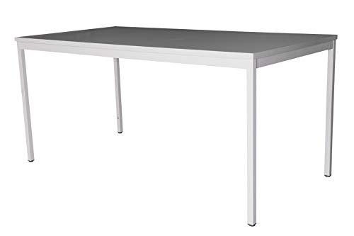 Schreibtisch (Stahl) LxB: 160x80 cm, lichtgrau, Marke: Szagato (Arbeitstisch, Bürotisch, Druckertisch Büro-Möbel Arbeitszimmer Computertisch großer Schreibtisch Home-Office Büro-Schreibtisch)