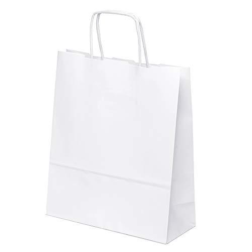 n klein 20 x 24 x 8 cm Praktische Bodenbeutel Tragetaschen Obstbeutel Mitgebseltüten Geschenktaschen Süßigkeiten Geschenkverpackung Gastgeschenke Tüten Weiß Kraft Geschenkpapier ()