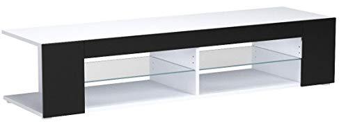 TV Board Lowboard Movie, Korpus in Weiß matt/Fronten in Schwarz Hochglanz inkl. LED Beleuchtung in Blau
