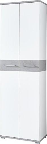 Germania 3774-531 GW-Topix Garderobenschrank, Holz, weiß  beton-optik, 40 x 59 x 199 cm