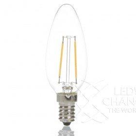 Lampada di forma a candela a LED E14, lampada a filamento, design rétro, in vetro, 2W=25W, A++