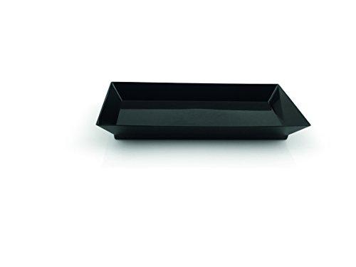 Petit-Teller Set (Anzahl/Set: 25 Stück) in rechteckiger Form, SERIE EINWEG PETIT SETS, aus Polystyrol (Einwegartikel), XTRA PREISWERT / Abmessung: 13 x 6,5 x 1,6 cm, Farbe: Schwarz - Petite-serie