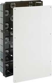 Caja de registro de empotrar en tabique para el uso de telecomunicaciones en interior de viviendas,  Cajera modelo RTV TLCA TB+RDSI de 300x500x60mmfabricada íntegramente en PVC antiestático, cuerpo negro y tapa color blanco liso, cuenta con sistem...