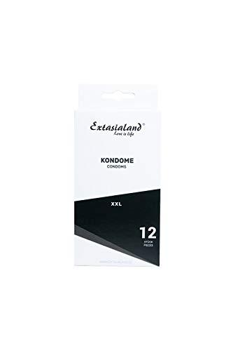 Extasialand 12er XXL Marken-Kondome glatt & transparent - Sex Markenprodukte XXL Condome im Spar Abo