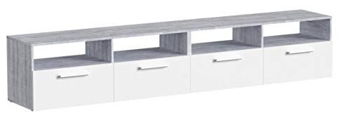Vicco Lowboard Diego - Fernsehtisch Sideboard Fernsehschrank TV-Board Schrank (190cm, Grau Weiß)