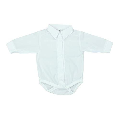 TupTam Unisex Baby Hemd-Body Langarm mit Kragen, Farbe: Weiß, Größe: 62