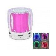 Mini Portable Bluetooth V2.0 MP3 Player / Speaker w/ Mini USB / FM / TF / 4-LED - Purple + White Purple + White + MultiColored