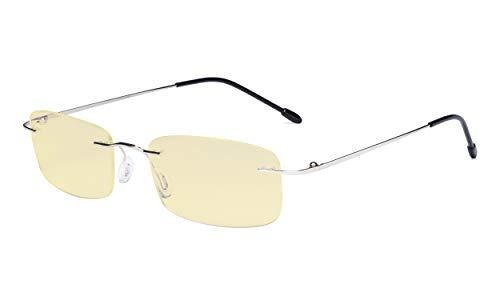Eyekepper Computergläser Blaulicht Blocking-Flexible Randlos Brillen Herren Damen Gelb getönt,Silber
