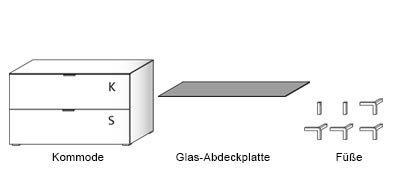 Kommode in Wildeiche-NB, sandfarbene Glasabdeckplatte, 1 Klappe u. 1 Schubkasten, Maße: B/H/T ca. 109/66/50 cm, mit Füßen, H: ca 9 cm - 2