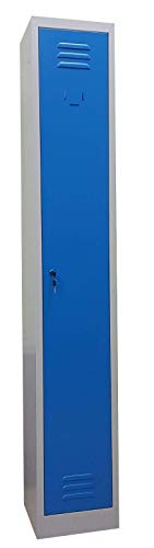 F&T Armoire Vestiaire Metallique Modulable L30 cm x P50 cm x H180 cm (Porte Bleu)