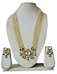 JN Handicraft Kundan Neckles With Multilayer Pearl String And Golden Pearl