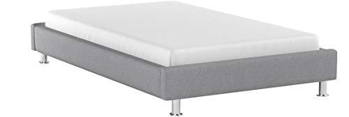 IDIMEX Lit futon Simple pour Adulte Nizza Couchage 120 x 190 cm 1 Place et Demi / 1 Personne, avec sommier et Pieds en métal chromé, revêtement en Tissu Gris