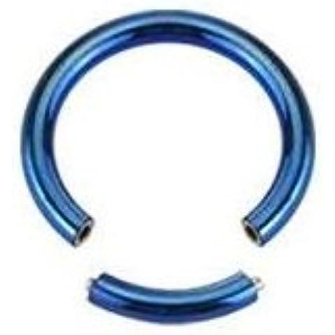 Piercing Boutique anodizzato titanio segmento Anello Naso/sopracciglio/Labret–1,2mm (16g) X 10mm di diametro, colore: blu