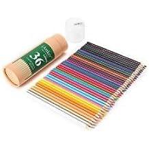 IArtker, matite colorate triangolari-Matite da disegno, in vaso, in confezione tubolare con coperchio di alta qualità con temperamatite.  set of 18 Multicoloured