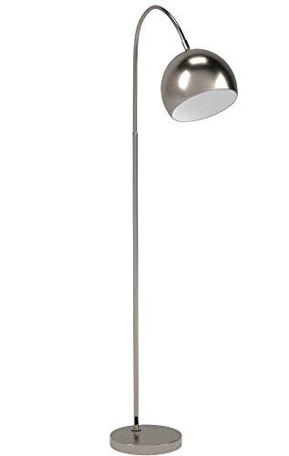 Stehlampe Felisa, moderne Stehleuchte aus Metall in Nickel-matt, E27-Fassung, max. 60 Watt, Bogenlampe mit verstellbarem Leuchtenkopf, mit Fußschalter am Kabel, Lichteffekt an der Decke