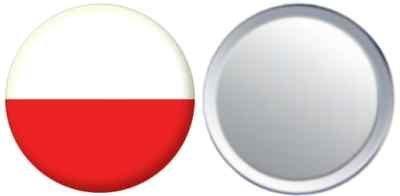 Miroir insigne de bouton Pologne drapeau - 58mm