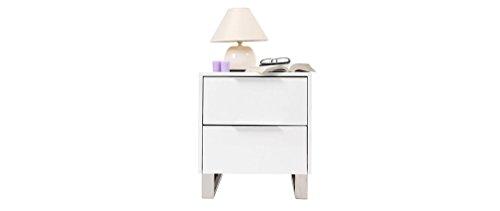 Miliboo - Mesilla de noche de diseño, blanca y lacada HALIFAX