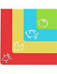 Cooler Kitchen Extra Dicke Flexible Kunststoff Schneidebretter Mit Lebensmittel Symbolen and EZ-Grip Ruckseite Mit Waffelstruktur(4er Set)