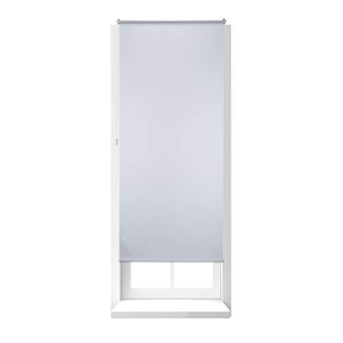 Relaxdays 10023760_737 tenda a rullo oscurante, termica, isolante, adesiva, senza fori, per finestre, 90 x 210 cm, bianca