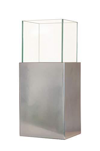 VIVANNO Deko-Windlicht Kerzenhalter Laterne Vier-Eckig CANDELITA, Silber Metallic (45x20x20)