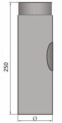 LANZZAS Homeflame Tuyau de poêle tuyau de cheminée Support 250 mm avec ouverture de nettoyage Ø 150 mm Noir