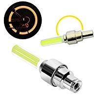 YUHUS Sepcial Design Auto/Fahrrad vallve caps2pcs Bewegung aktiviert Neon LED Reifen Ventil Staubkappen Rad Sicherheitslicht für Fahrrad Auto Motorrad gelb Auto Ventilkappen