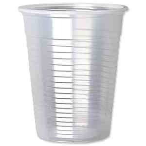 A disposable plastic cup