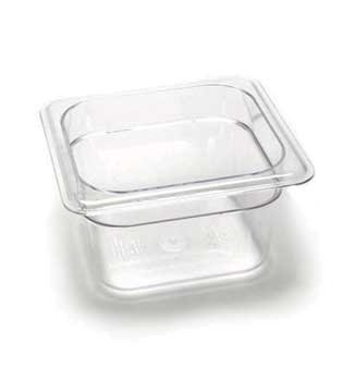 Camwear Food Pan, Plastic, 1/6 Size, 4'' Deep, Polycarbonate, Clear, Nsf (6 Pieces/Unit) by Cambro Camwear Food Pan