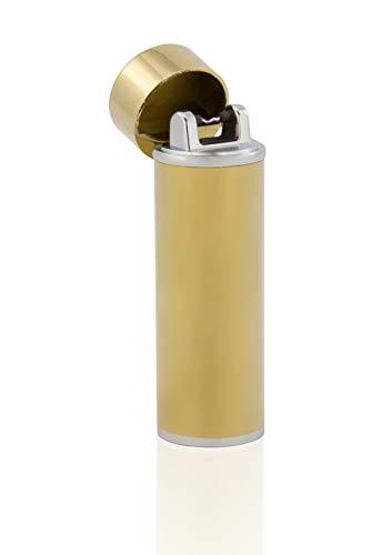 TESLA Lighter T02 Lichtbogen Feuerzeug, Plasma Single-Arc, elektronisch wiederaufladbar, aufladbar mit Strom per USB, ohne Gas und Benzin, mit Ladekabel, in Edler Geschenkverpackung, Gold