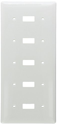 Hubbell Wiring Systems NP5W Nylon 5-Toggle Switch Wall Plate, Standard Size, 5 Gang, 10-1/16 Width x 4-5/8 Height x 1/16 Thick, White by Hubbell Wiring Systems -