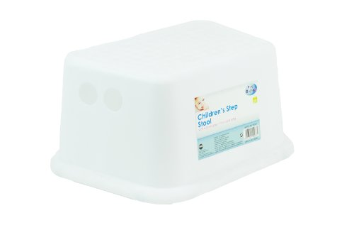 Kids Toddler Step Stool with Rubber Grips Sink Basin Potty Training - WHITE