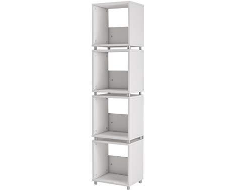 Loft 24 A/S Regal Standregal Weiß Bücherregal Büroregal 4 Fächer Aktenregal Ordnerregal Holz 39 x 30 x 168 cm -