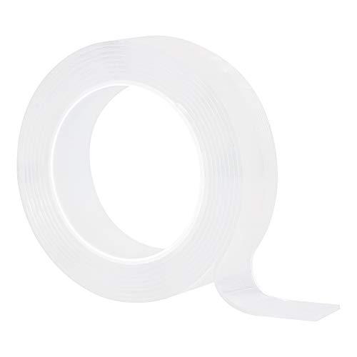 Jiangeshuh Traceless waschbares Klebeband wiederverwendbares Nano Tape doppelseitiges Klebeband aus Silikon, frei zu entfernen, klebt an Glas, Metall, Küchenschränken 5M/16.5Ft