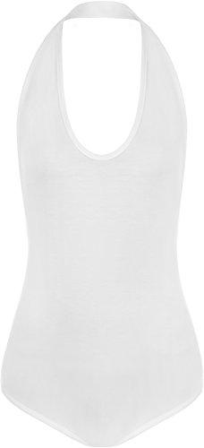 WearAll - Justacorps Body Top Uni sans Manches avec Dos Nu - Hauts - Femmes - Tailles 36-42 Blanc