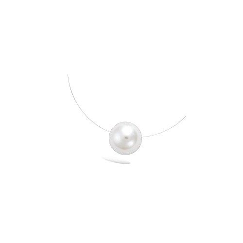 Halskette aus Nylondraht, Verschluss aus 925/000 Silberund Anhänger mit weißer synthetischer Perle von 12mm