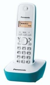 Panasonic KX-TG1611SPC - Teléfono fijo inalámbrico digital, blanco con azul
