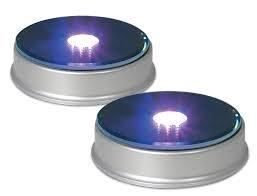 Beleuchtetes Display, 2-Pack-LED-Display, Ideal für die Präsentation von Figuren, Schmuck, Kristall oder Schmuck-Kollektionen, Silber mit einem verspiegelten Top mit 3 Farbwechselleuchten