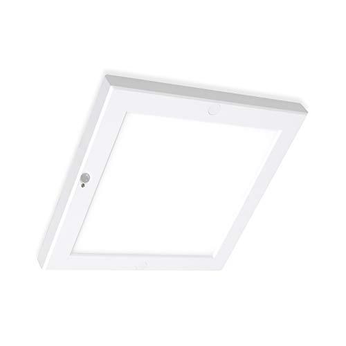 LED Sensor Lampe Deckenleuchte mit Bewegungsmelder eckig 220x220mm 18W Sensorleuchte warmweiß 3000K Deckenlechte flickerfrei, mit integriertem Netzteil, einfache Montage, Xtend Serie PLd